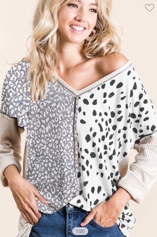 Dalmatian & Leopard Thermal Waffle V Neck Top