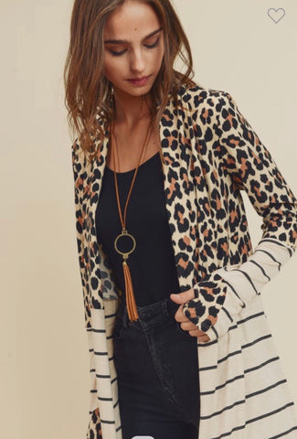 Stripe Animal Print Cardigan