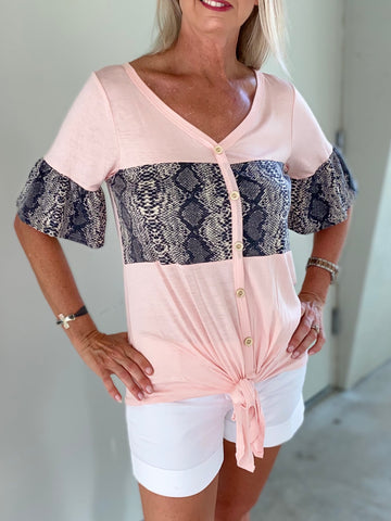 Flirty Snakeskin and Pastel Pink Short Sleeve Top
