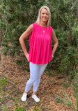 Bubble Gum Sleeveless Knit Solid Flare Top with Smock Chest
