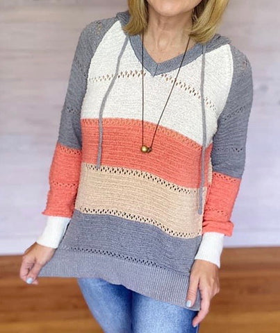 Grey and Coral Colorblock Hoodie Sweater