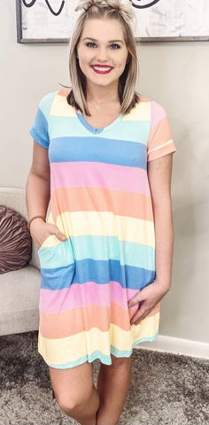 Yellow & Pink Color Block Striped V-neck Dress