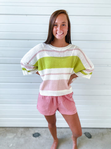 Striped Lime Green and Pink Pullover Sweater