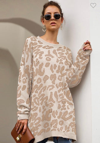 Taupe Leopard Print Sweater