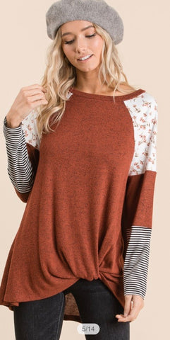 Brush Floral and Stripe and Color Block Raglan Top