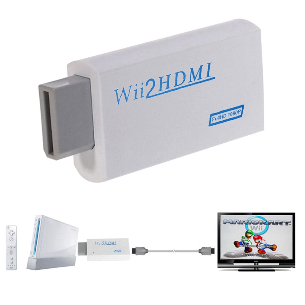 For Wii To HDMI 1080P Upscaling Converter Wii2HDMI Adapter Converters Full HD Output Upscaling 3.5mm Audio Video Output Newest