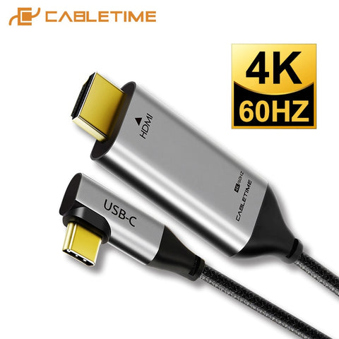 2020 CABLETIME USB C to HDMI 90degree Cable Adapter Type C to HDMI 4K 60Hz for Huawei Mate30/20 P30/20 Pro Samsung Xiaomi C030