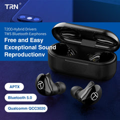 TRN T200 Bluetooth 5.0 Aptx Wireless Earphones Noise Reduction Earpiece Hybrid Drivers True Wireless Earbuds QCC3020 TWS Headset