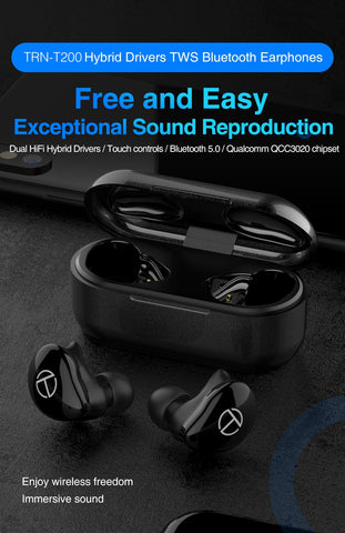 TRN T200 Bluetooth 5.0 Aptx Wireless Earphones Noise Reduction Earpiece Hybrid Drivers True Wireless Earbuds