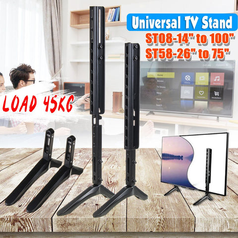 14-100 inch Universal Table TV Stand Base LCD Flat Screen Table Top Pedestal Mount Iron Easy Installaation Load Up to 45KG
