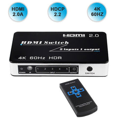 2020 New HDMI 2.0 Switch HDR Support HDCP 2.2 5 Port HDMI Switch 2.0 4K 60Hz HDMI Switch Switcher 2.0 Auto HDMI Switch 3 Port 4K