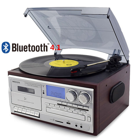 3 Speed Bluetooth Vinyl Record Player Vintage Turntable CD&Cassette Player AM/FM Radio USB Recorder Aux-in RCA Line-out