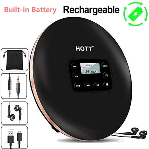Rechargeable Portable CD Player Personal Compact Disc Player with LCD Display, CD Music Walkman cd player for Kids & Adults