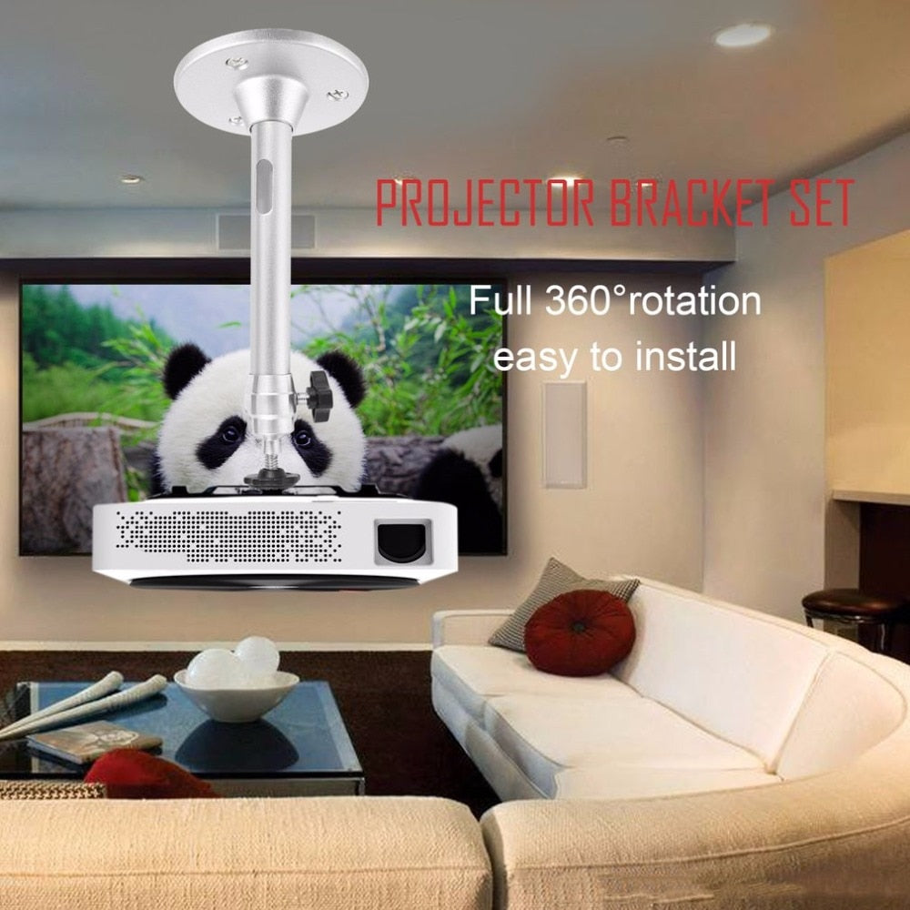Hot Aluminum alloy + Plastic Silver Wall Ceiling Mini Projector Bracket 360 Degree Swivel Mount Holder Projector bracket set