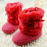 Winter Warm First Walker Baby Girl Toddler Boots With Butterfly-knot Anti-slip Shoes - Jungleecart.com