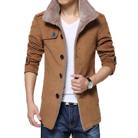 Trench Coat Men Casual Slim Fit Jacket Autumn Winter