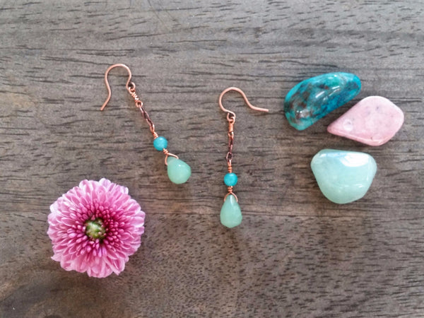 Green Aventurine & Chalcedony Copper Dangle Earrings - Earrings - The Salty Blossom