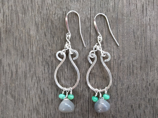 Moonstone & Chrysoprase Silver Curly Hoop Earrings - Earrings - The Salty Blossom