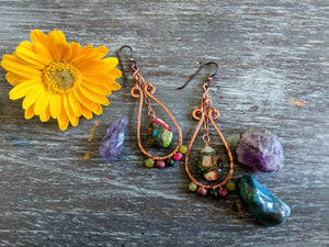 Impression Jasper Copper Sundance Hoops - Earrings - The Salty Blossom