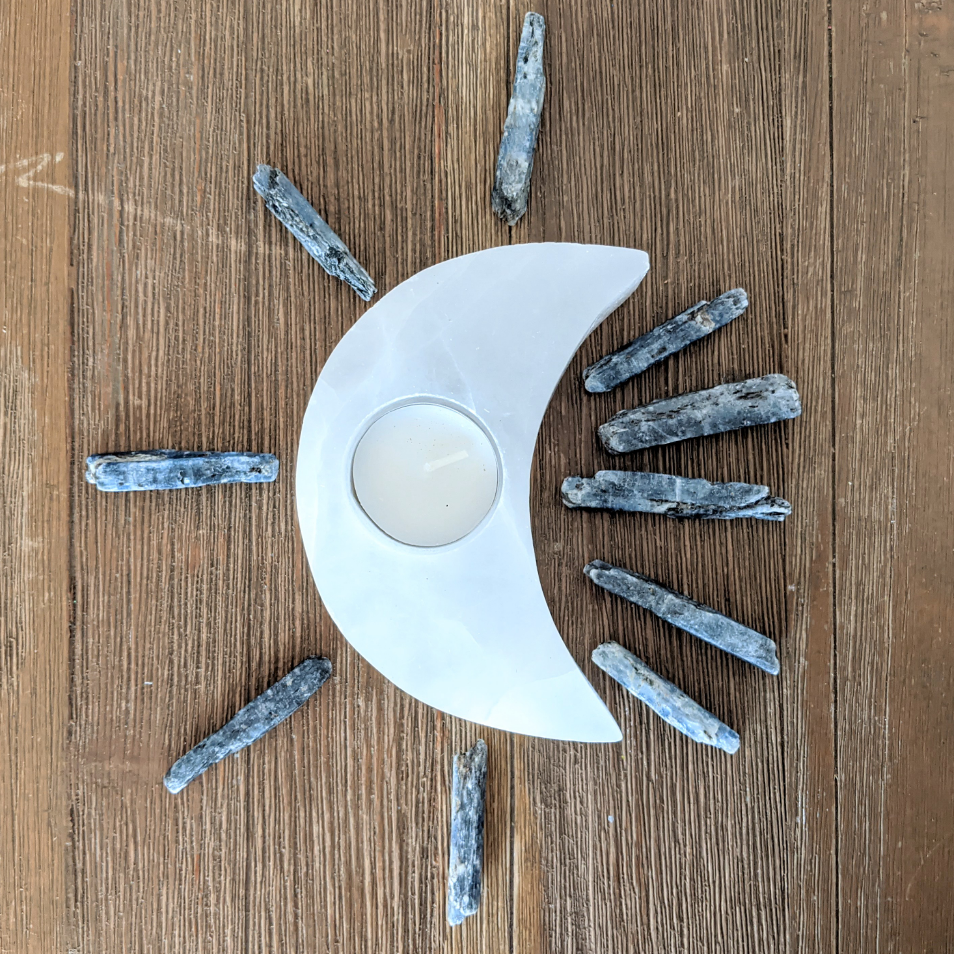 Selenite Moon Candle Holder