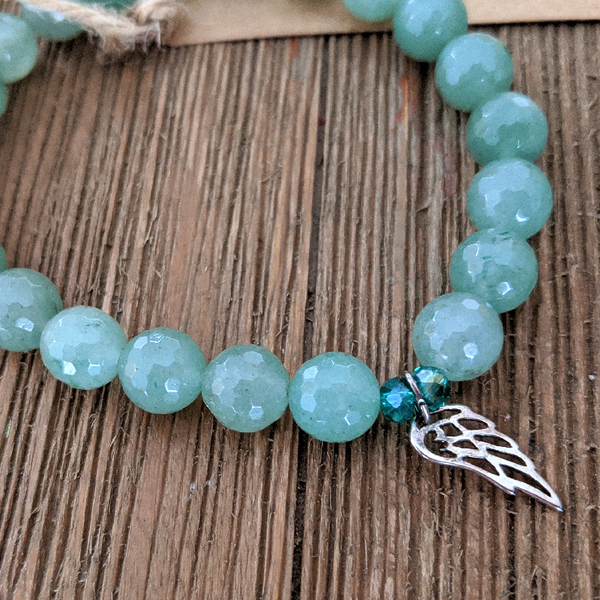Green Aventurine / Angel Wing Bracelet