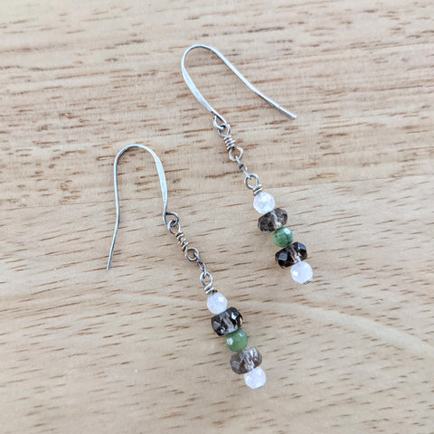 Silver Simple Dangles (Rose Quartz, Smoky Quartz, Jade)
