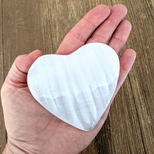 Selenite Grooved Heart