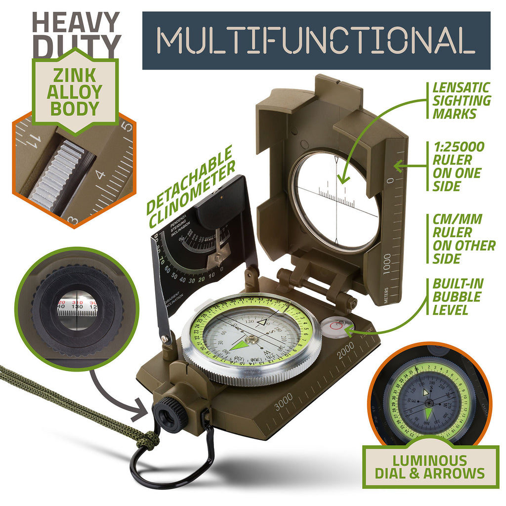 Horizons Tec Military Floating Compass Kit | Waterproof Zinc Alloy Body