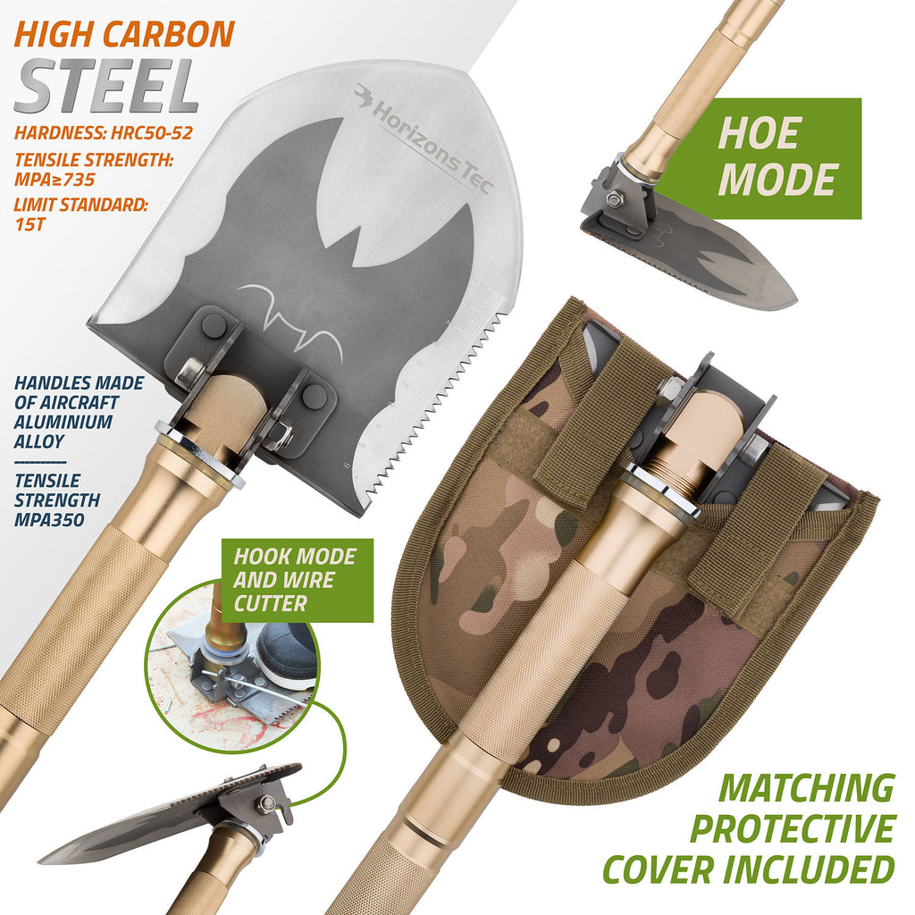 Horizons Tec Outdoor Military Folding Shovel With Flashlight - Available to US customer only