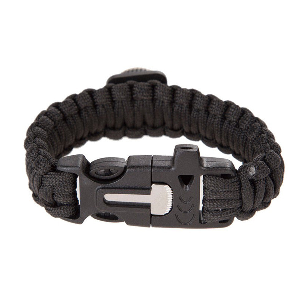 Multifunctional  5-in-1 Outdoor Survival Emergency Bracelet  With Fire Starter Compass & Whistle