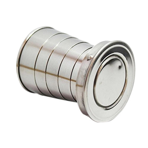 Stainless Steel Folding Cup With Keychain