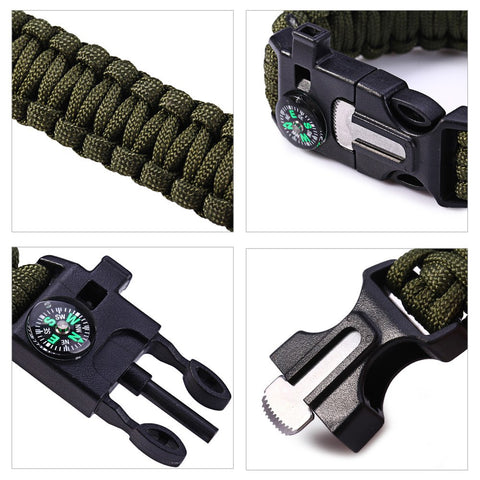 5 in 1 Paracord Bracelet Fire Starter / Whistle / Compass / Scraper