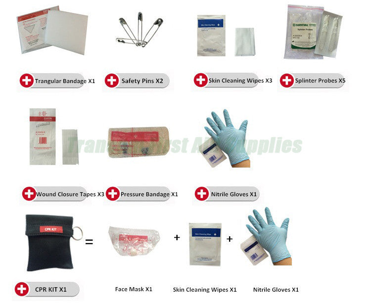 Medical mini emergency survival first aid kit with FDA/CE
