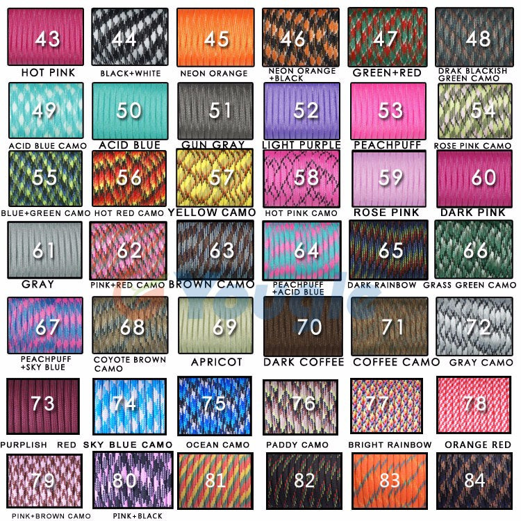 108 Colors Paracord Lanyard Rope Type: 550lb