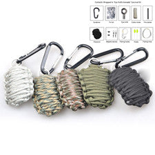 Paracord Carabiner  Survival Kit Fishing Kit with Fire Starter and Sharp Eye Knife