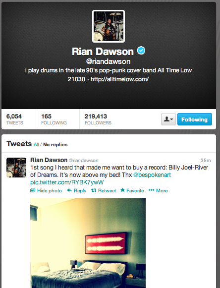 Rian Dawson from band ALL TIME LOW