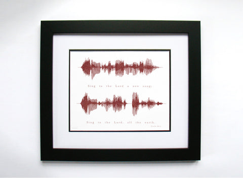 """Sing the the Lord a new song..."" - Bible Verse Sound Wave Art by Bespoken Art"