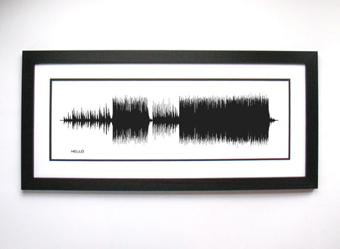 "Adele's ""Hello"" Sound Wave Art Print - Poster created by Bespoke Art from sound waves of entire song."