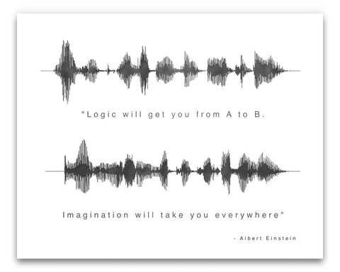 "Sound Wave Einstein Quote - ""Logic will get you..."" - Created by BespokenArt"