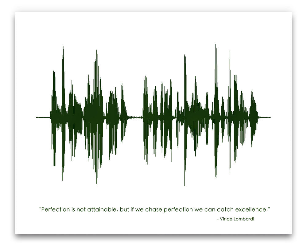 Vince Lombardi Sound Wave Quote - Art Print or Canvas - BespokenArt.com