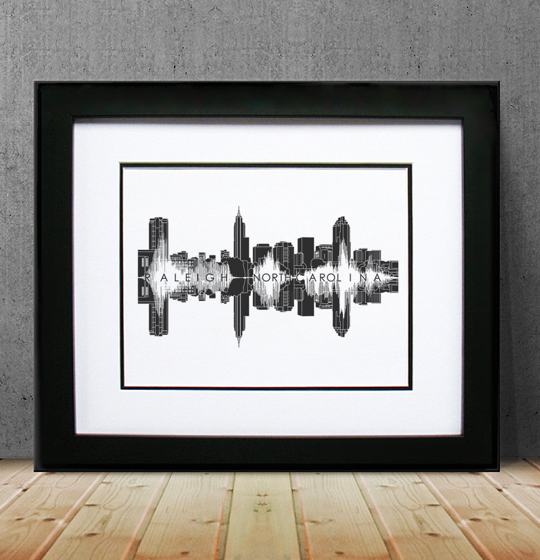 Raleigh, North Carolina Waveform and Skyline by BepsokenART