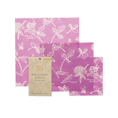 Bee's Wrap Assorted 3-pack - Clover print-Home & Garden > Kitchen & Dining > Food Storage > Food Wraps > Wax Paper-Eqo Online