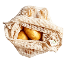 Load image into Gallery viewer, Organic cotton Mesh Produce Bags - Set of 3-Home & Garden > Household Supplies > Storage & Organization > Household Storage Bags-Eqo Online