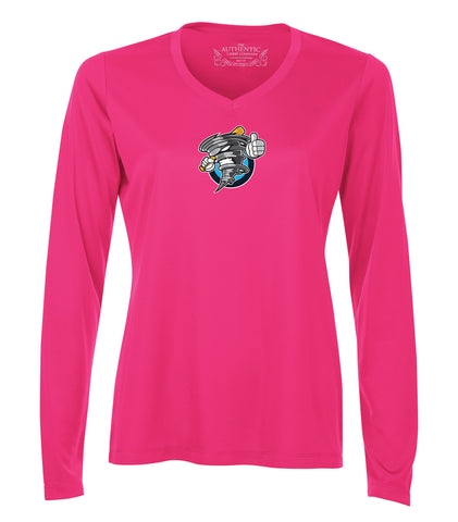 STORM PRO TEAM V-NECK LONG SLEEVE LADIES' TEE SHIELD LOGO PINK