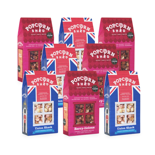 Berry-licious & Cherry Bakewell 8 Shed Bundle - Popcorn Shed Gourmet Popcorn Gifts