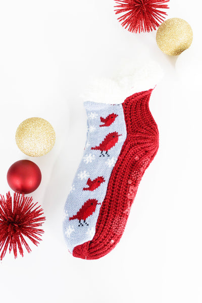 Muk Luk Slipper Sock Cardinal
