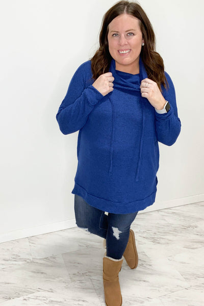 Mid Navy Cowl Neck Tunic Sweater