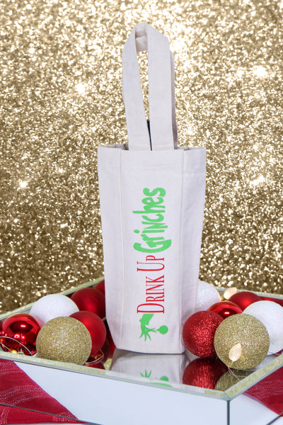 DRINK UP GRINCHES SINGLE WINE TOTE