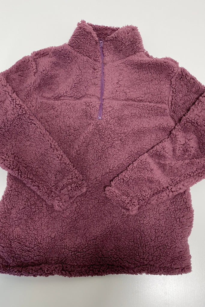 Cozy All Day Sherpa Pullover Plum