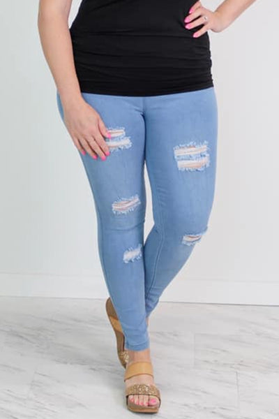 Light Washed Distressed Jegging